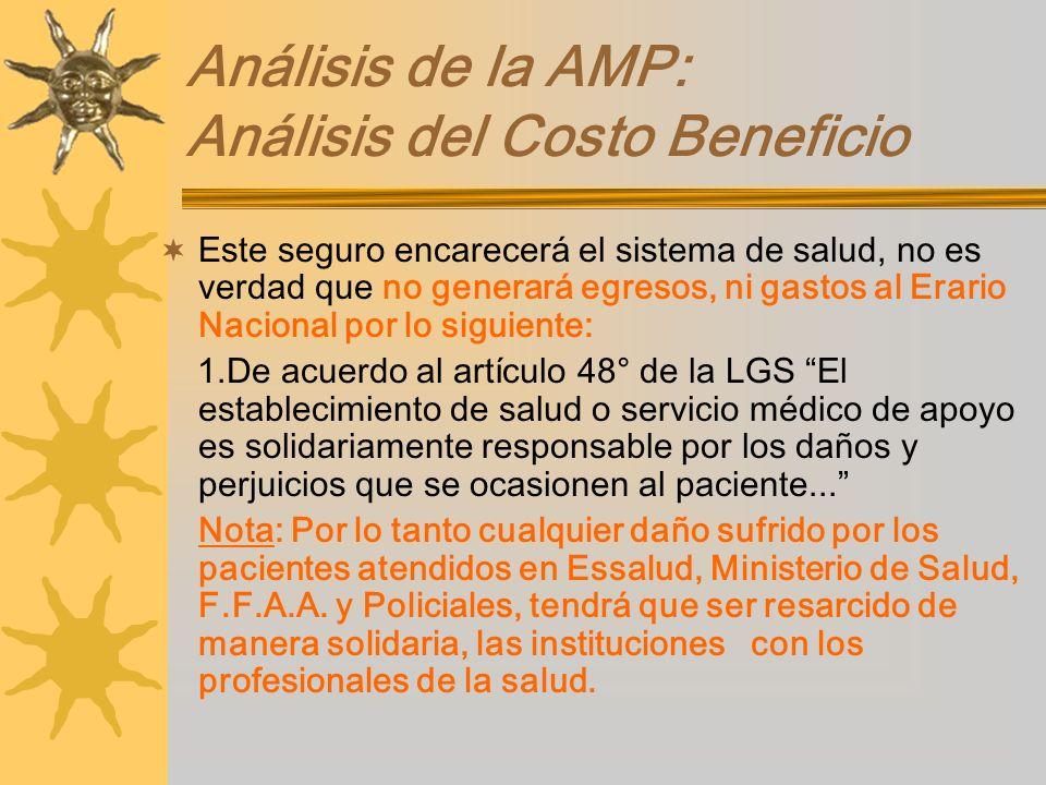 Análisis de la AMP: Análisis del Costo Beneficio Este seguro encarecerá el sistema de salud, no es verdad que no generará egresos, ni gastos al Erario