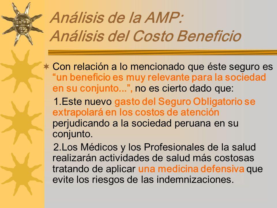 Análisis de la AMP: Análisis del Costo Beneficio Con relación a lo mencionado que éste seguro es un beneficio es muy relevante para la sociedad en su