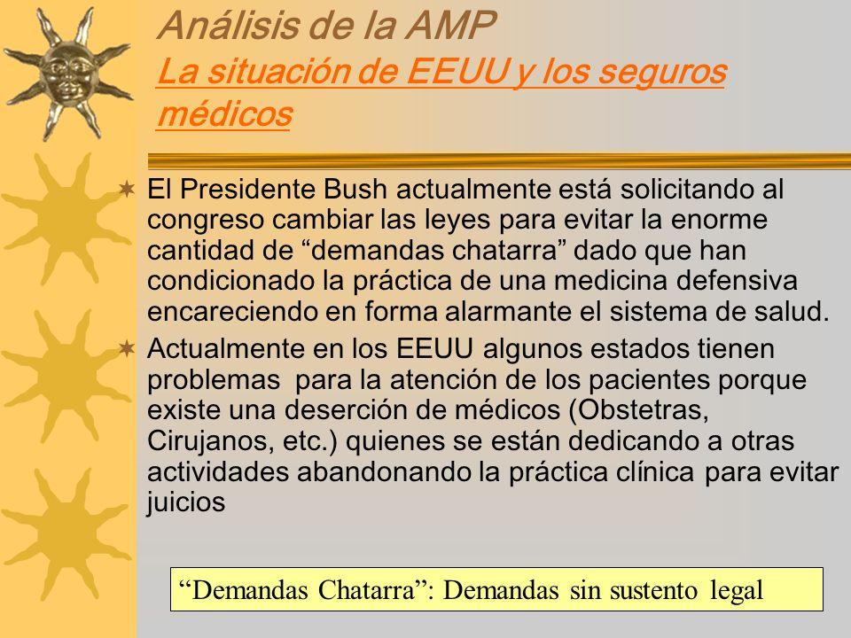 Análisis de la AMP La situación de EEUU y los seguros médicos El Presidente Bush actualmente está solicitando al congreso cambiar las leyes para evita