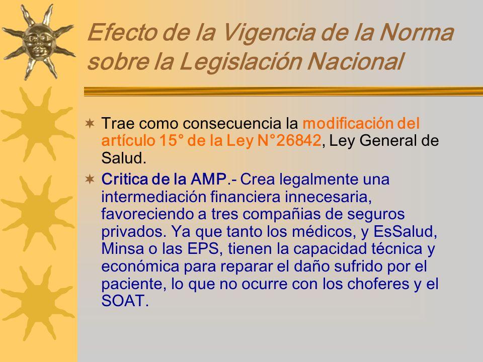 Efecto de la Vigencia de la Norma sobre la Legislación Nacional Trae como consecuencia la modificación del artículo 15° de la Ley N°26842, Ley General