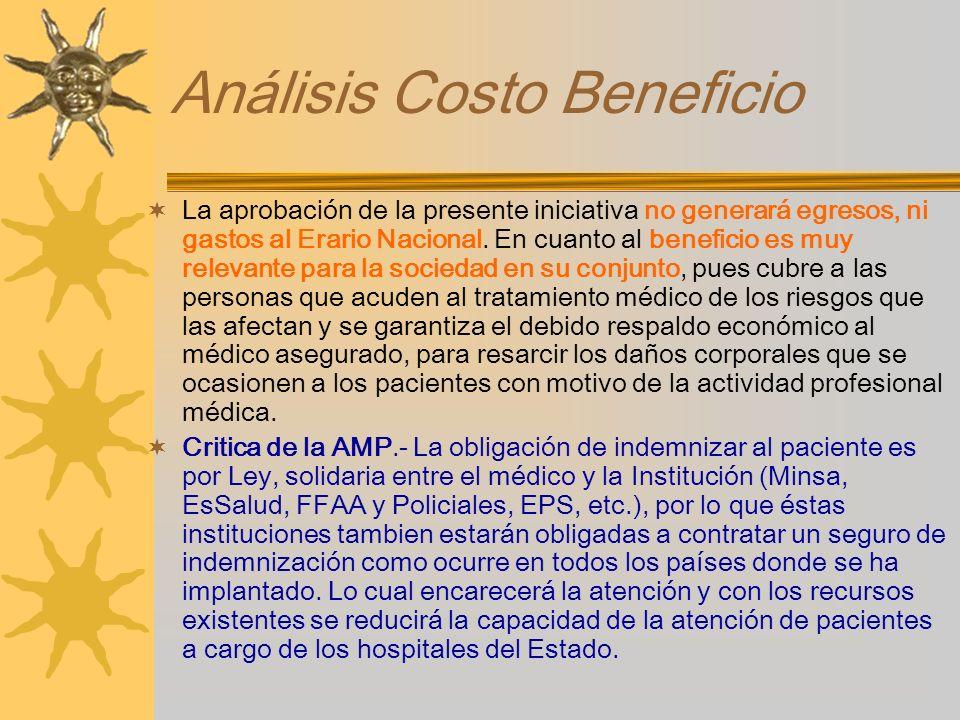 Análisis Costo Beneficio La aprobación de la presente iniciativa no generará egresos, ni gastos al Erario Nacional. En cuanto al beneficio es muy rele