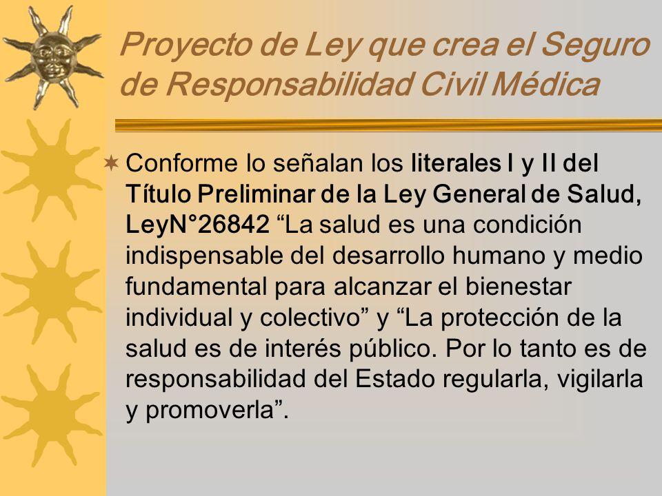 Proyecto de Ley que crea el Seguro de Responsabilidad Civil Médica Conforme lo señalan los literales I y II del Título Preliminar de la Ley General de