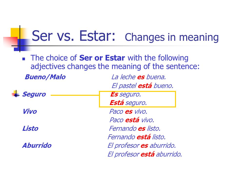 Ser vs. Estar: Changes in meaning The choice of Ser or Estar with the following adjectives changes the meaning of the sentence: Bueno/Malo La leche es