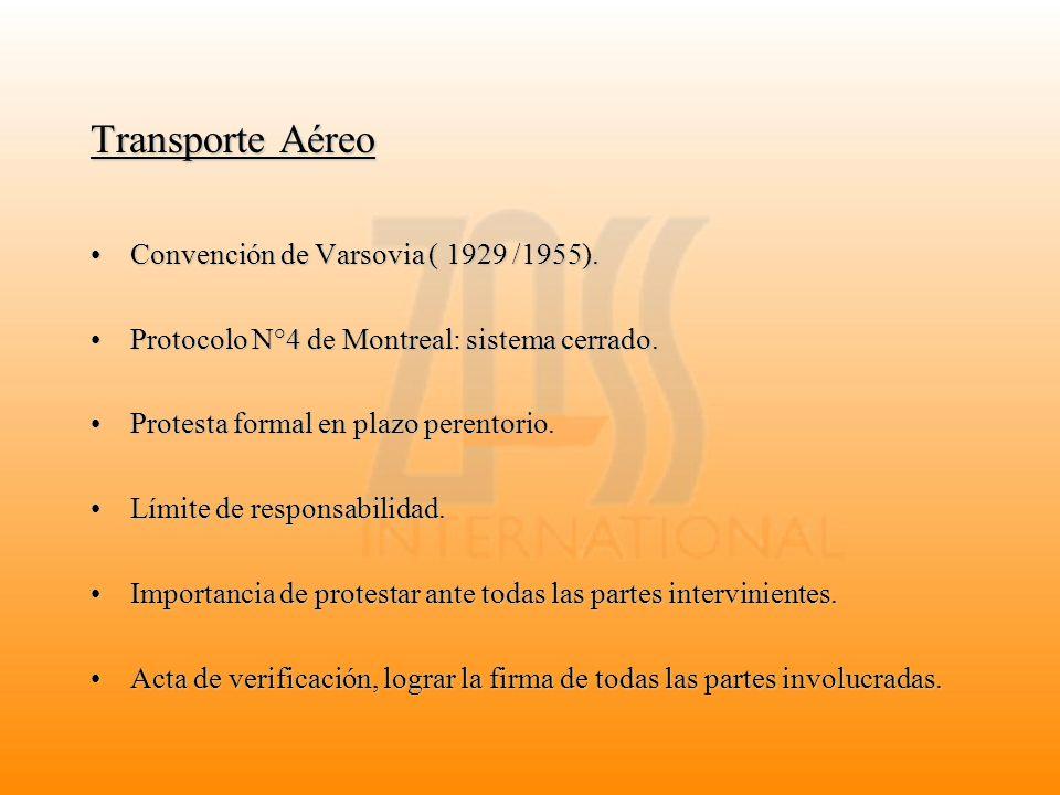 Transporte Aéreo Convención de Varsovia ( 1929 /1955).Convención de Varsovia ( 1929 /1955). Protocolo N°4 de Montreal: sistema cerrado.Protocolo N°4 d