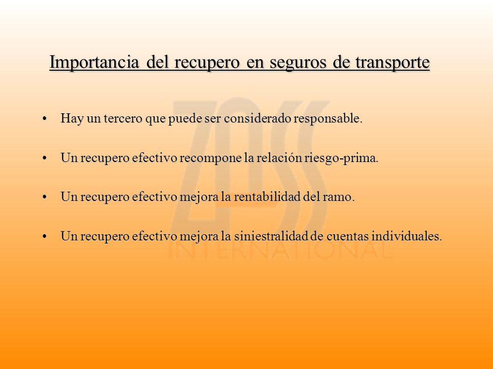 Importancia del recupero en seguros de transporte Hay un tercero que puede ser considerado responsable.Hay un tercero que puede ser considerado respon