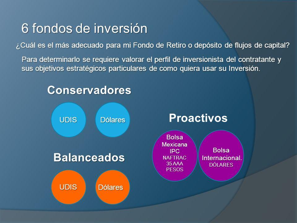 6 fondos de inversión UDIS Conservadores Dólares UDISBalanceadosDólares Bolsa Mexicana IPC NAFTRAC 35 AAA PESOS ProactivosBolsa Internacional. Interna