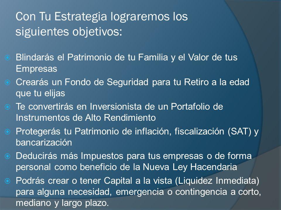 Con Tu Estrategia lograremos los siguientes objetivos: Blindarás el Patrimonio de tu Familia y el Valor de tus Empresas Crearás un Fondo de Seguridad