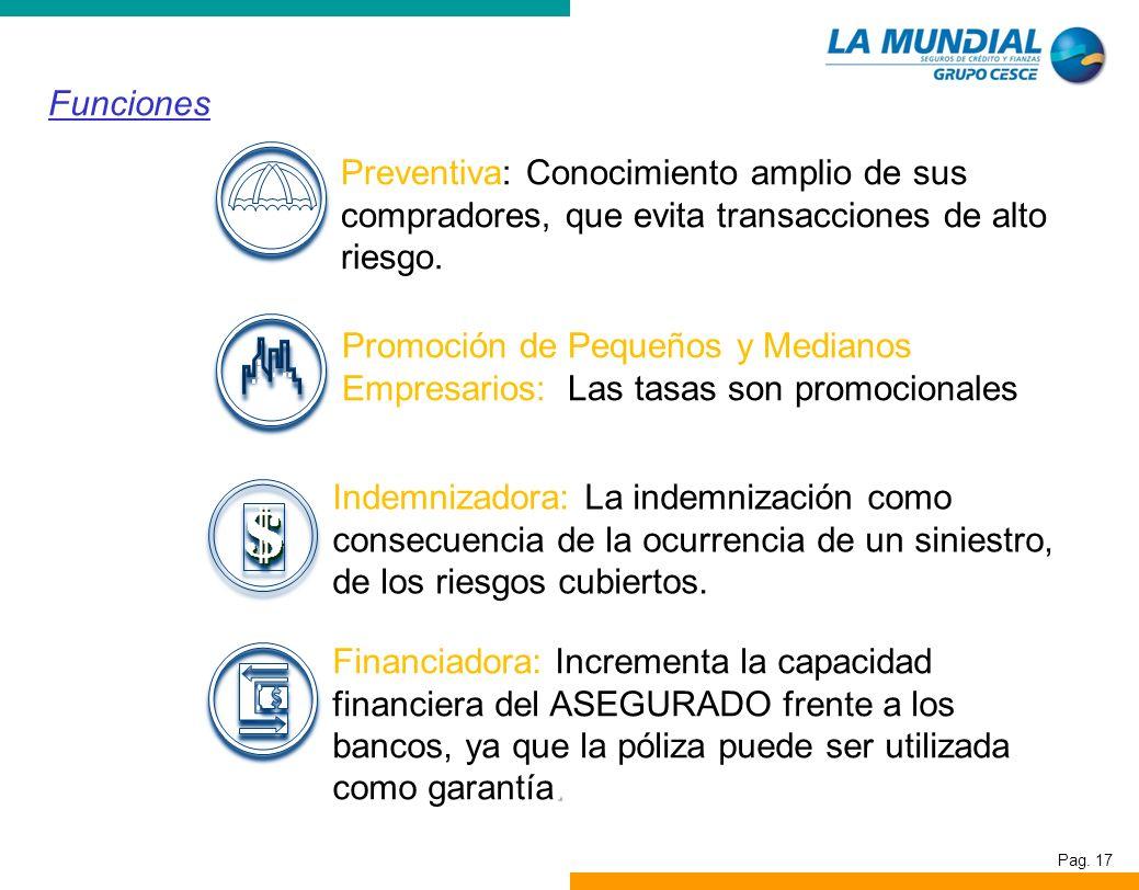 Pag. 17 Funciones Preventiva: Conocimiento amplio de sus compradores, que evita transacciones de alto riesgo. Promoción de Pequeños y Medianos Empresa