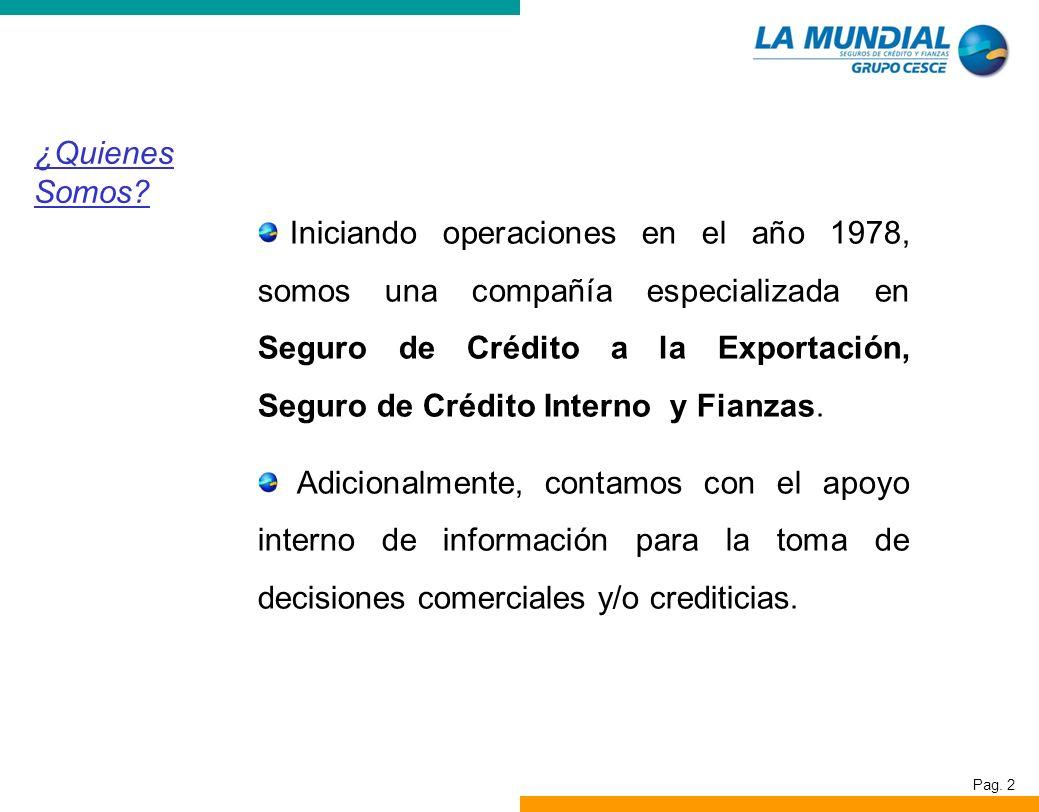 Pag. 2 ¿Quienes Somos? Iniciando operaciones en el año 1978, somos una compañía especializada en Seguro de Crédito a la Exportación, Seguro de Crédito