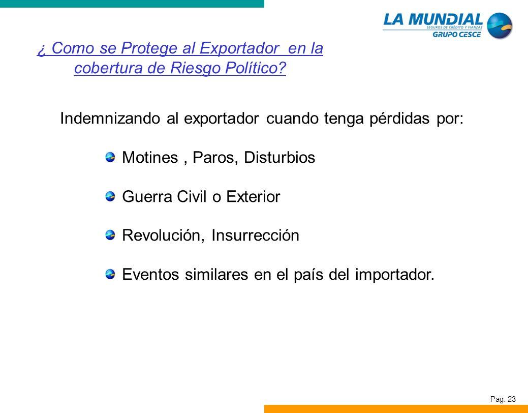 Pag. 23 Indemnizando al exportador cuando tenga pérdidas por: Motines, Paros, Disturbios Guerra Civil o Exterior Revolución, Insurrección Eventos simi