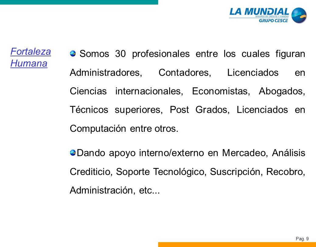 Pag. 9 Fortaleza Humana Somos 30 profesionales entre los cuales figuran Administradores, Contadores, Licenciados en Ciencias internacionales, Economis