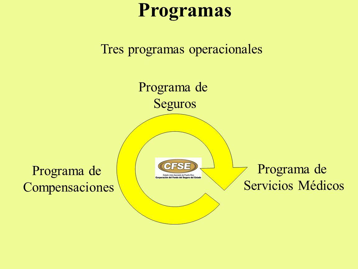Programas Tres programas operacionales Programa de Seguros Programa de Compensaciones Programa de Servicios Médicos