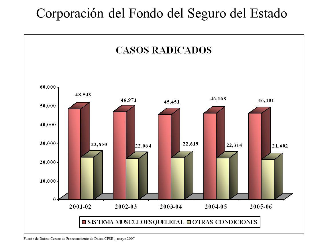 Corporación del Fondo del Seguro del Estado Fuente de Datos: Centro de Procesamiento de Datos CFSE, mayo 2007