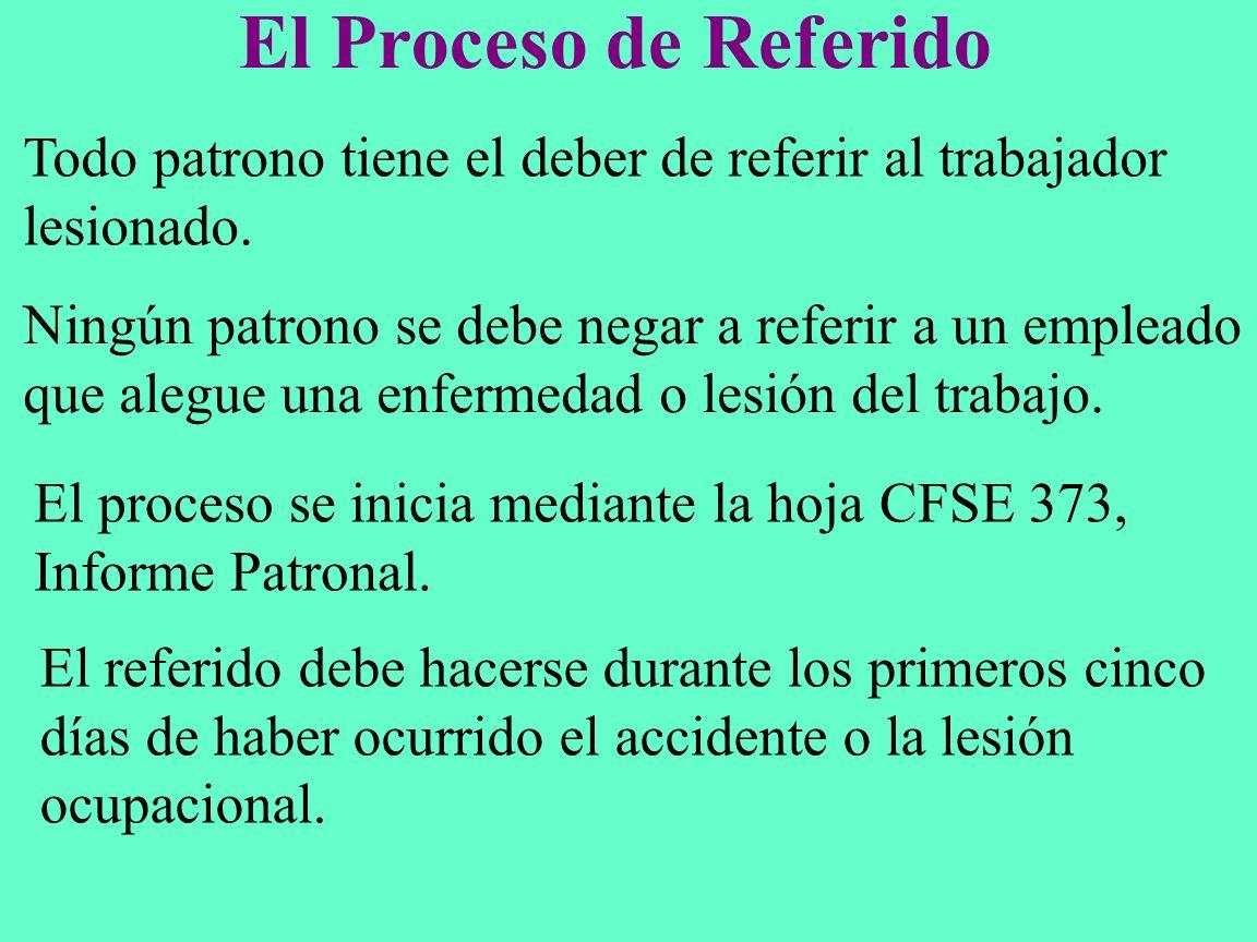 El Proceso de Referido Todo patrono tiene el deber de referir al trabajador lesionado. Ningún patrono se debe negar a referir a un empleado que alegue