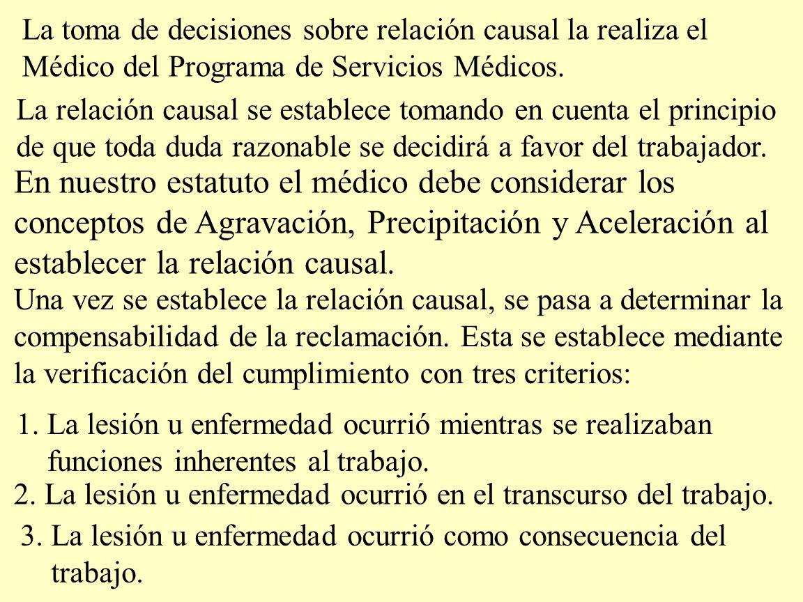 La toma de decisiones sobre relación causal la realiza el Médico del Programa de Servicios Médicos. La relación causal se establece tomando en cuenta