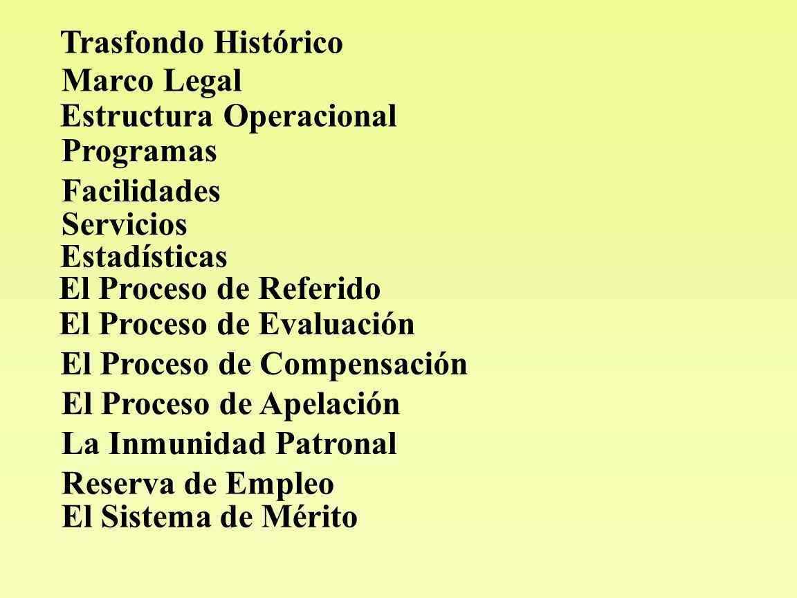 Trasfondo Histórico Marco Legal Estructura Operacional Programas Facilidades Servicios Estadísticas El Proceso de Referido El Proceso de Evaluación El