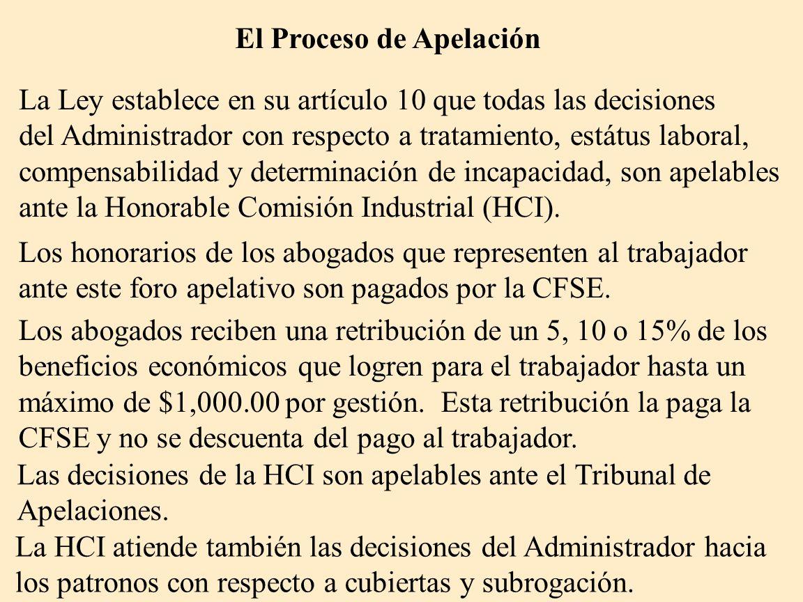 El Proceso de Apelación La Ley establece en su artículo 10 que todas las decisiones del Administrador con respecto a tratamiento, estátus laboral, com