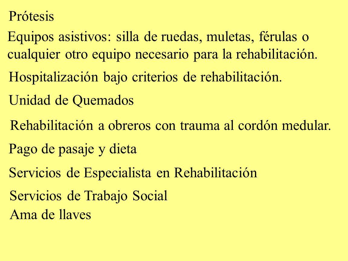 Prótesis Unidad de Quemados Equipos asistivos: silla de ruedas, muletas, férulas o cualquier otro equipo necesario para la rehabilitación. Rehabilitac