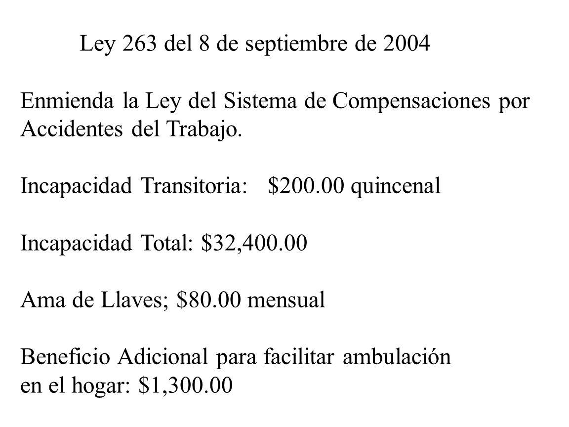 Ley 263 del 8 de septiembre de 2004 Enmienda la Ley del Sistema de Compensaciones por Accidentes del Trabajo. Incapacidad Transitoria: $200.00 quincen