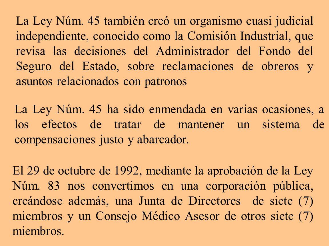 La Ley Núm. 45 también creó un organismo cuasi judicial independiente, conocido como la Comisión Industrial, que revisa las decisiones del Administrad