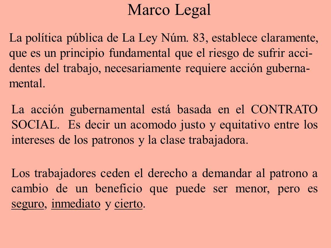 Marco Legal La política pública de La Ley Núm. 83, establece claramente, que es un principio fundamental que el riesgo de sufrir acci- dentes del trab