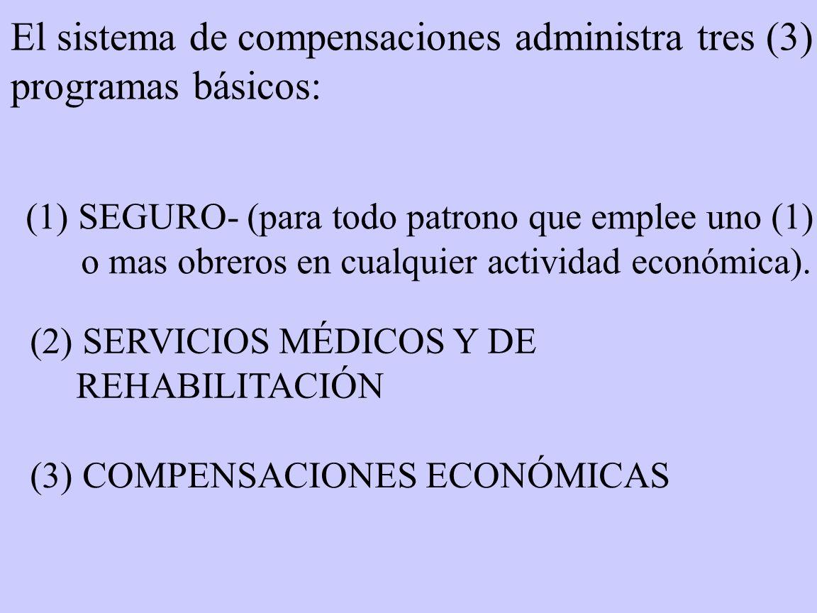 El sistema de compensaciones administra tres (3) programas básicos: (1) SEGURO- (para todo patrono que emplee uno (1) o mas obreros en cualquier activ