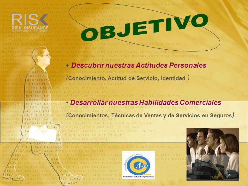 Descubrir nuestras Actitudes Personales ( Conocimiento, Actitud de Servicio, Identidad ) Desarrollar nuestras Habilidades Comerciales ( Conocimientos,