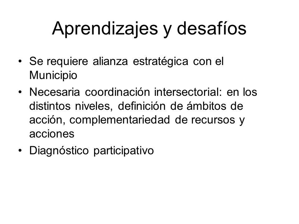 Aprendizajes y desafíos Se requiere alianza estratégica con el Municipio Necesaria coordinación intersectorial: en los distintos niveles, definición de ámbitos de acción, complementariedad de recursos y acciones Diagnóstico participativo