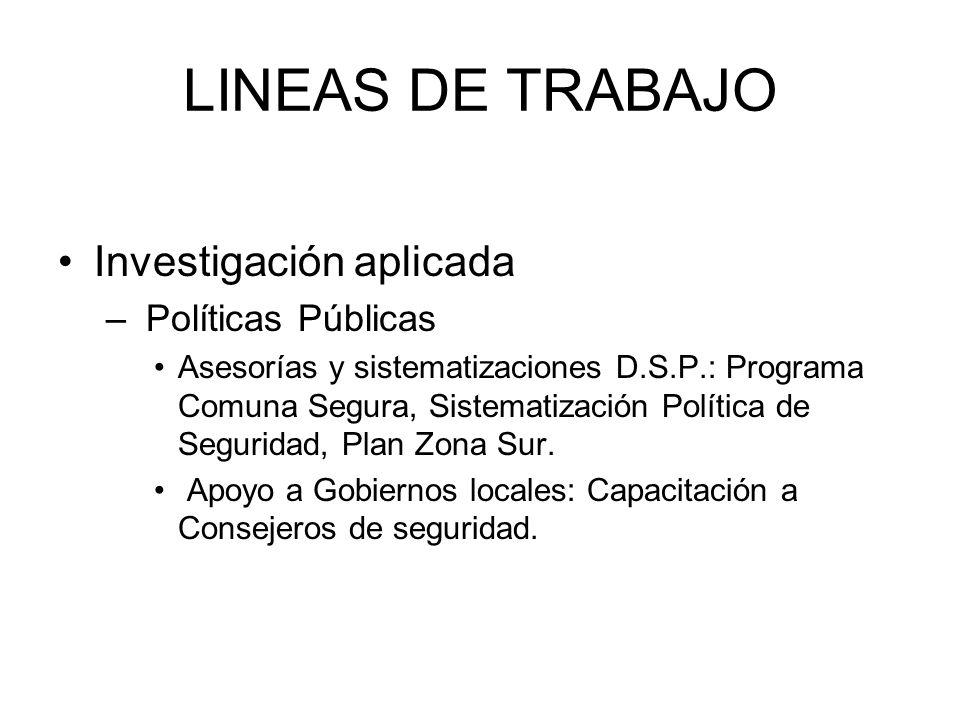 LINEAS DE TRABAJO Investigación aplicada – Políticas Públicas Asesorías y sistematizaciones D.S.P.: Programa Comuna Segura, Sistematización Política de Seguridad, Plan Zona Sur.