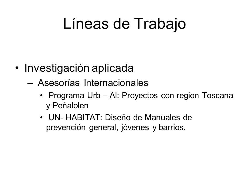 Líneas de Trabajo Investigación aplicada – Asesorías Internacionales Programa Urb – Al: Proyectos con region Toscana y Peñalolen UN- HABITAT: Diseño de Manuales de prevención general, jóvenes y barrios.