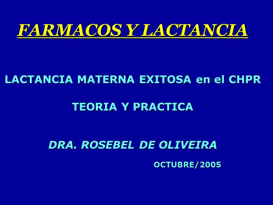 FARMACOS Y LACTANCIA LACTANCIA MATERNA EXITOSA en el CHPR TEORIA Y PRACTICA DRA. ROSEBEL DE OLIVEIRA OCTUBRE/2005