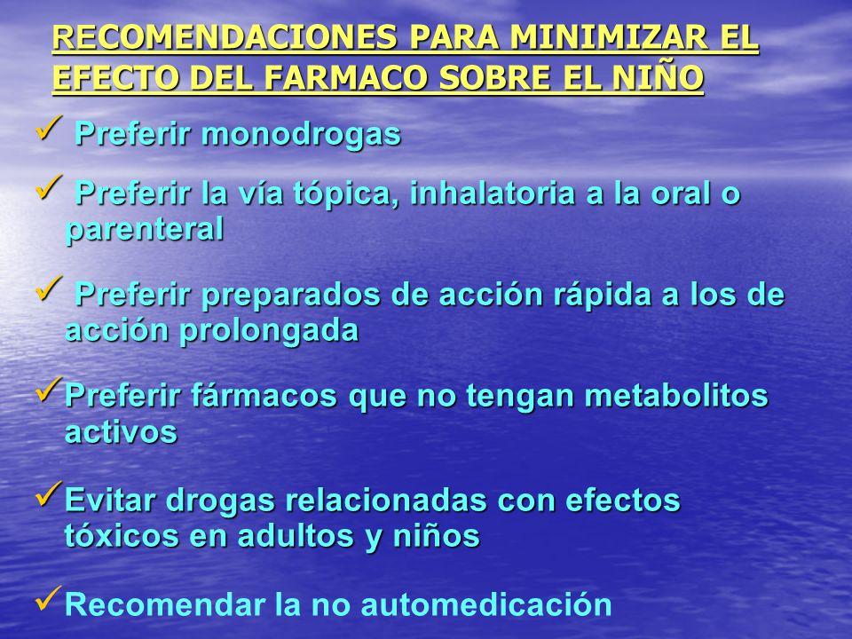 RE COMENDACIONES PARA MINIMIZAR EL EFECTO DEL FARMACO SOBRE EL NIÑO Preferir monodrogas Preferir monodrogas Preferir la vía tópica, inhalatoria a la o