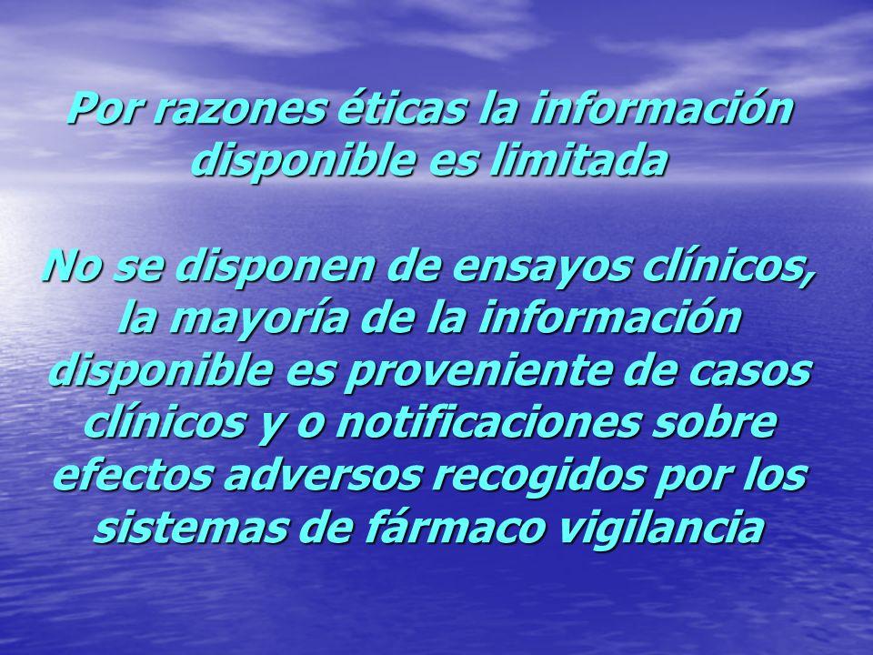 Por razones éticas la información disponible es limitada No se disponen de ensayos clínicos, la mayoría de la información disponible es proveniente de
