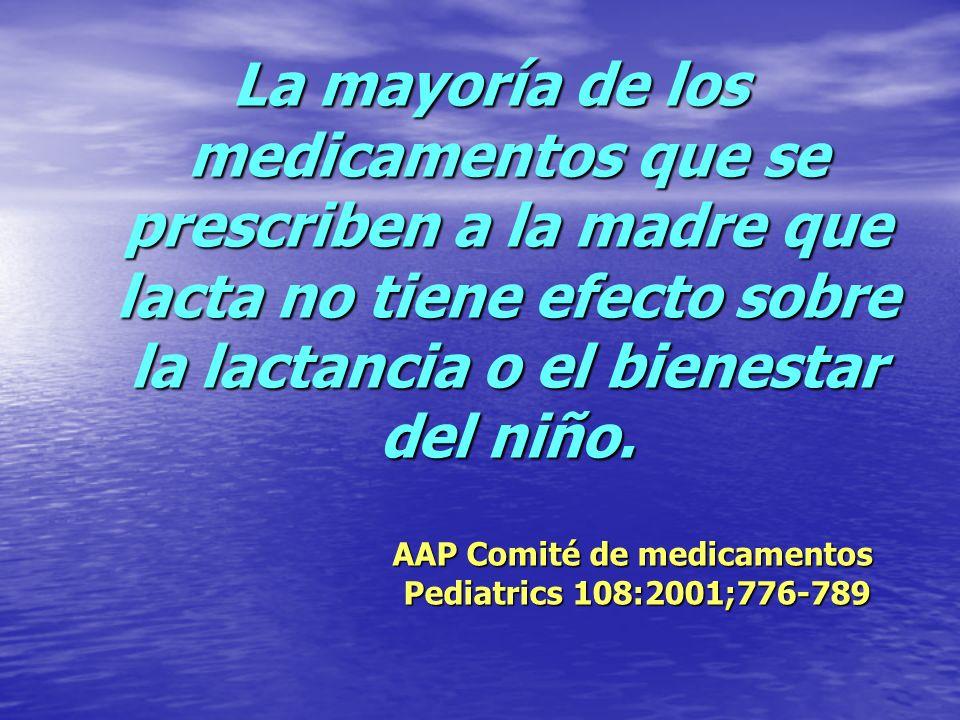 La mayoría de los medicamentos que se prescriben a la madre que lacta no tiene efecto sobre la lactancia o el bienestar del niño. AAP Comité de medica