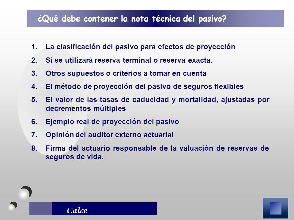 Calce 1.La clasificación del pasivo para efectos de proyección 2.Si se utilizará reserva terminal o reserva exacta. 3.Otros supuestos o criterios a to