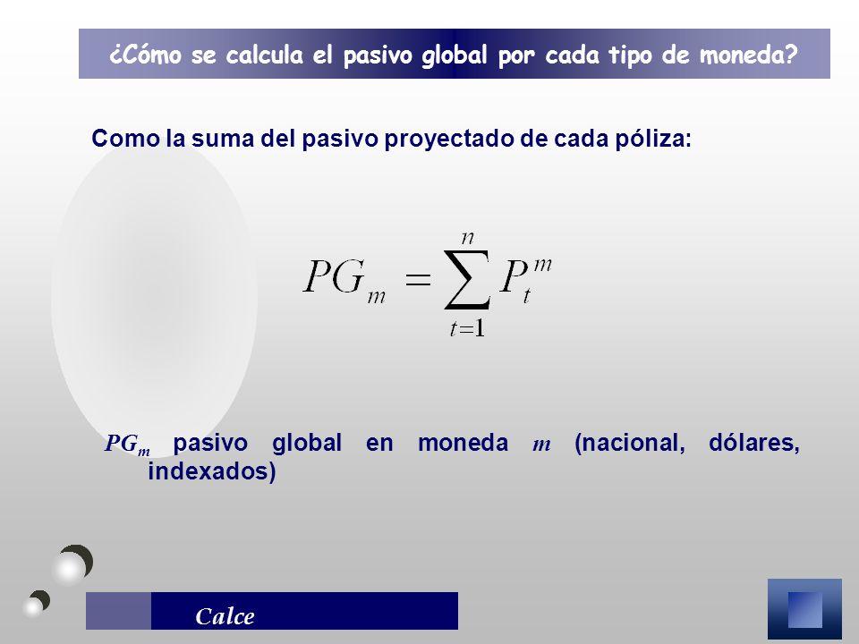 Calce Como la suma del pasivo proyectado de cada póliza: ¿Cómo se calcula el pasivo global por cada tipo de moneda? PG m pasivo global en moneda m (na
