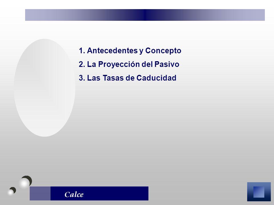 Calce 1. Antecedentes y Concepto 2. La Proyección del Pasivo 3. Las Tasas de Caducidad