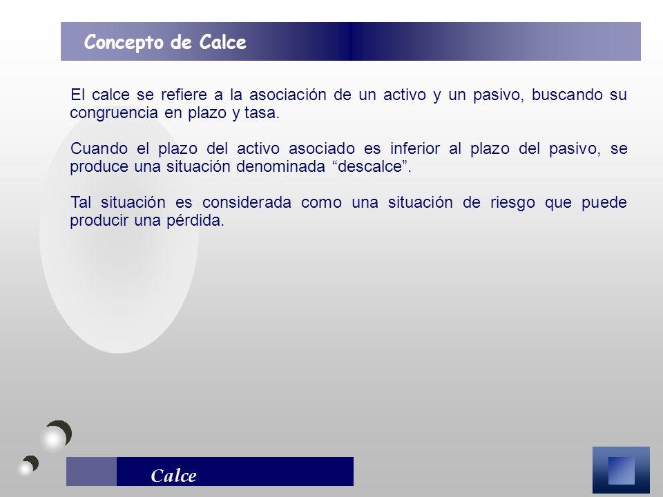 Calce El calce se refiere a la asociación de un activo y un pasivo, buscando su congruencia en plazo y tasa. Cuando el plazo del activo asociado es in