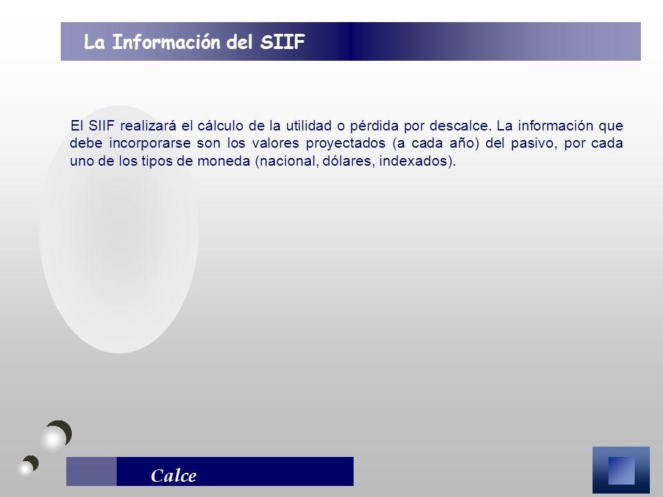 Calce El SIIF realizará el cálculo de la utilidad o pérdida por descalce. La información que debe incorporarse son los valores proyectados (a cada año