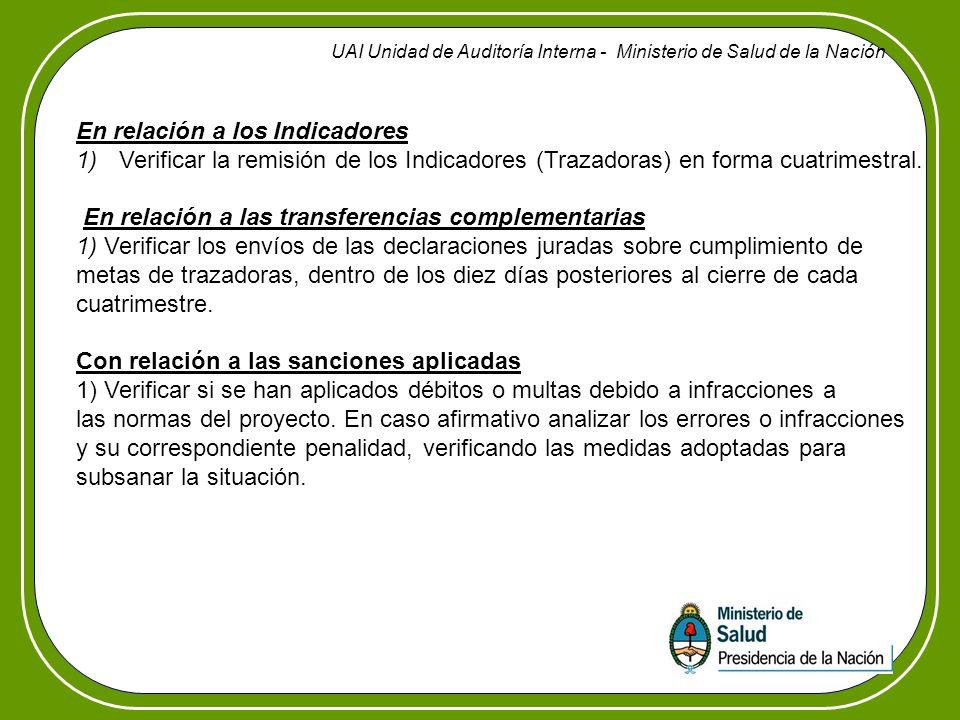 En relación a los Indicadores 1) Verificar la remisión de los Indicadores (Trazadoras) en forma cuatrimestral.
