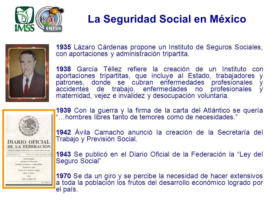 1935 Lázaro Cárdenas propone un Instituto de Seguros Sociales, con aportaciones y administración tripartita.