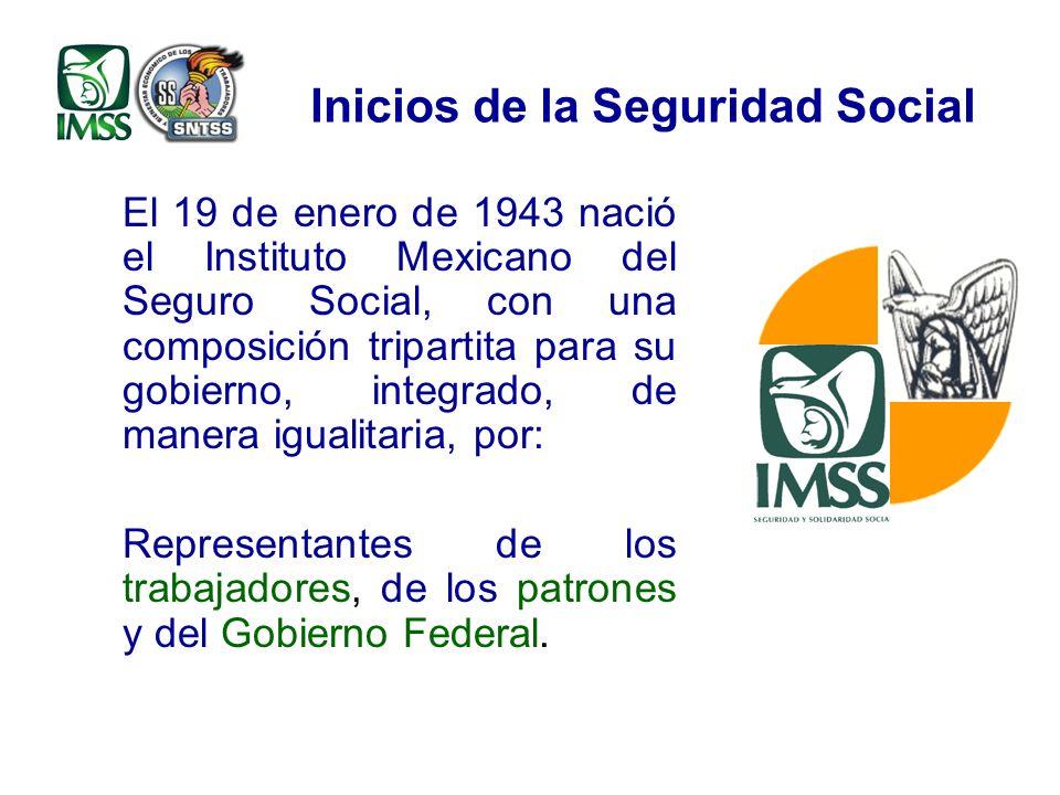 Inicios de la Seguridad Social El 19 de enero de 1943 nació el Instituto Mexicano del Seguro Social, con una composición tripartita para su gobierno, integrado, de manera igualitaria, por: Representantes de los trabajadores, de los patrones y del Gobierno Federal.