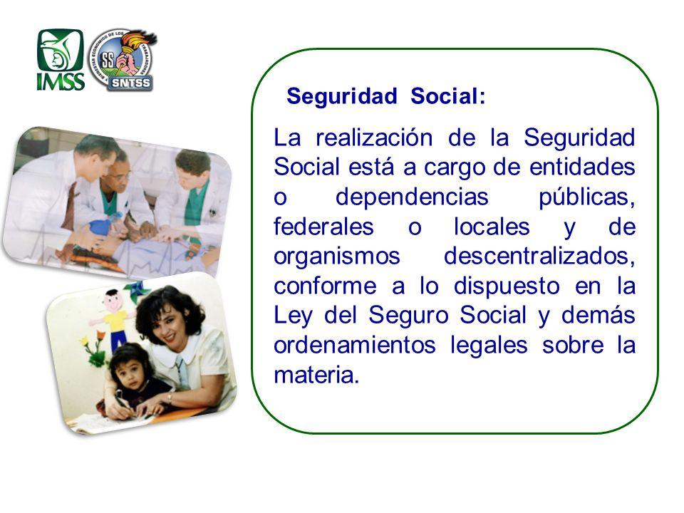 Seguridad Social: La realización de la Seguridad Social está a cargo de entidades o dependencias públicas, federales o locales y de organismos descentralizados, conforme a lo dispuesto en la Ley del Seguro Social y demás ordenamientos legales sobre la materia.