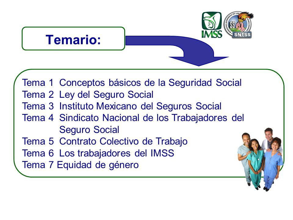 Temario: Tema 1Conceptos básicos de la Seguridad Social Tema 2Ley del Seguro Social Tema 3Instituto Mexicano del Seguros Social Tema 4 Sindicato Nacional de los Trabajadores del Seguro Social Tema 5 Contrato Colectivo de Trabajo Tema 6Los trabajadores del IMSS Tema 7 Equidad de género