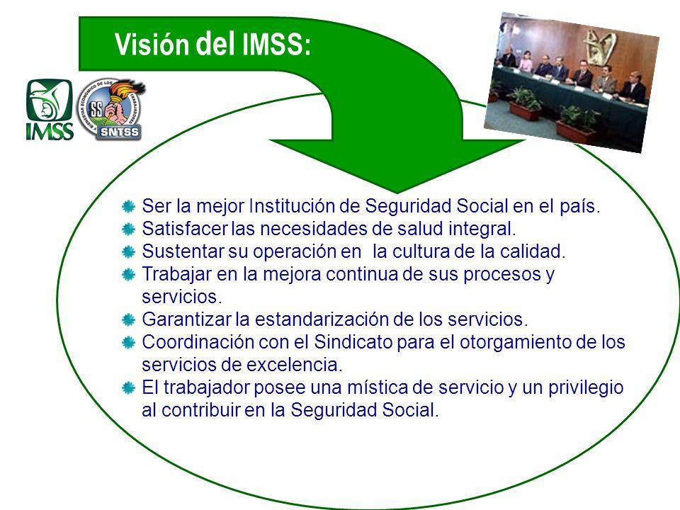 Ser la mejor Institución de Seguridad Social en el país.