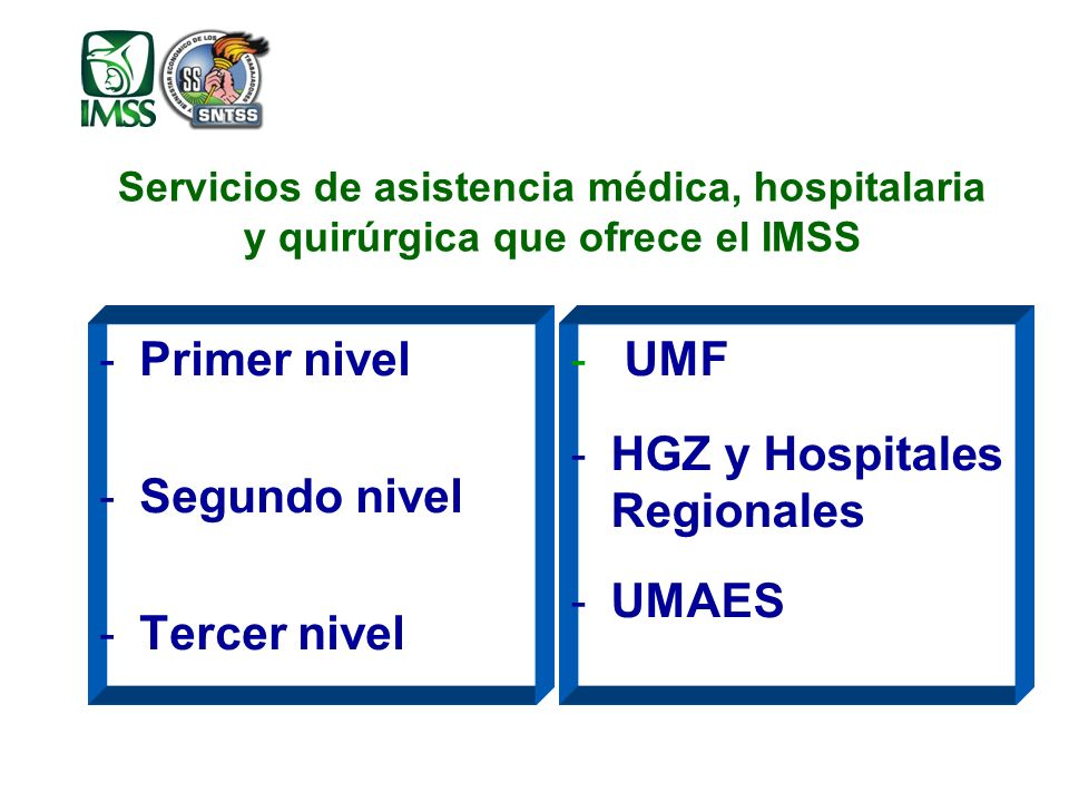 Servicios de asistencia médica, hospitalaria y quirúrgica que ofrece el IMSS -Primer nivel -Segundo nivel -Tercer nivel - UMF -HGZ y Hospitales Regionales -UMAES