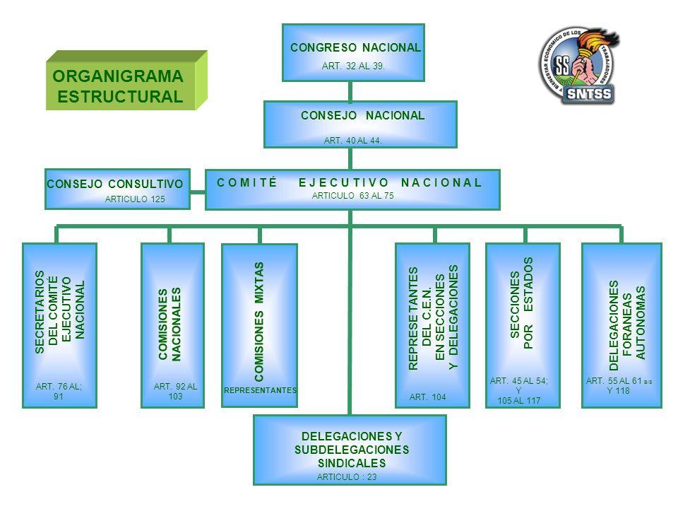 CONGRESO NACIONAL C O M I T É E J E C U T I V O N A C I O N A L CONSEJO NACIONAL SECRETA RIOS DEL COMITÉ EJECUTIVO NACIONAL COMISIONES NACIONALES COMISIONES MIXTAS REPRESE TANTES DEL C.E.N.