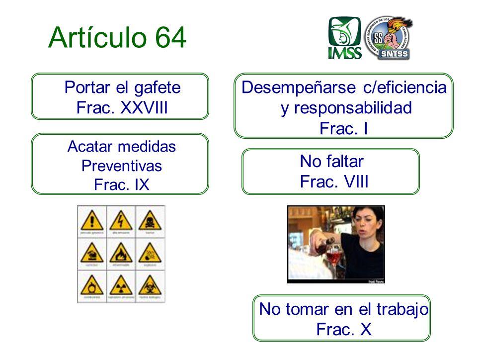 Artículo 64 Desempeñarse c/eficiencia y responsabilidad Frac.