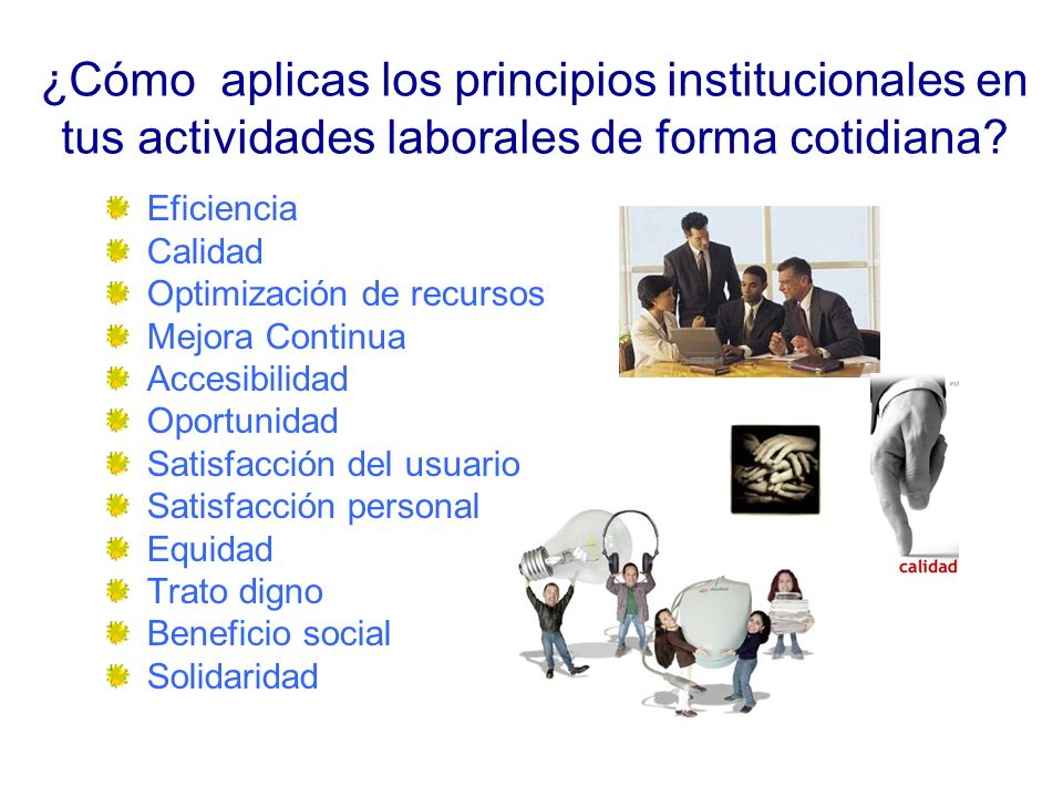 ¿Cómo aplicas los principios institucionales en tus actividades laborales de forma cotidiana.