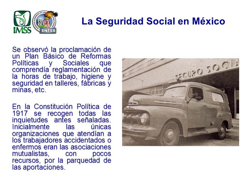 Inicios de la Seguridad Social Desde la Constitución Política de 1917, el Artículo 123 establece, entre otras medidas, responsabilidades de los patrones en accidentes de trabajo y enfermedades profesionales, así como la obligación de observar los preceptos legales sobre higiene y seguridad.